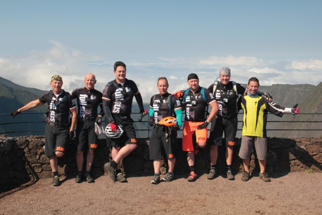 Our team of brave mountain bikers with guide 'Ug' (dressed in yellow).